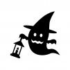 ハロウィン・ランタンを持つお化けの白黒シルエットイラスト