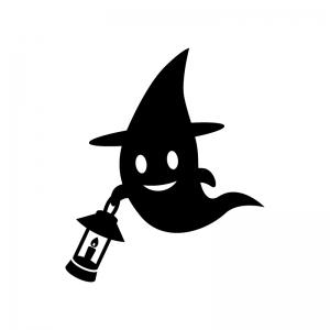 ハロウィン・ランタンを持つお化けの白黒シルエットイラスト02