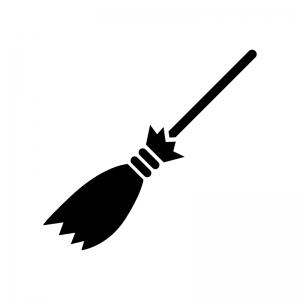 ハロウィン・魔女のほうきの白黒シルエットイラス02