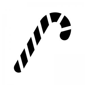 クリスマスのキャンディケインの白黒シルエットイラスト