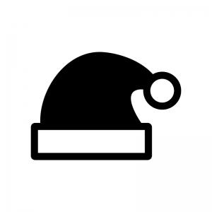 クリスマス・サンタの帽子の白黒シルエットイラスト