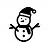 サンタの帽子をかぶった雪だるまの白黒シルエットイラスト