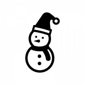 サンタの帽子をかぶった雪だるまの白黒シルエットイラスト02