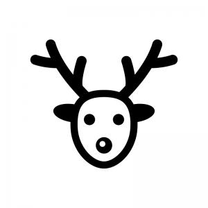クリスマス・トナカイの白黒シルエットイラスト