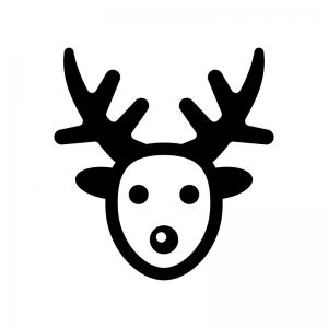 クリスマス・トナカイの白黒シルエットイラスト02