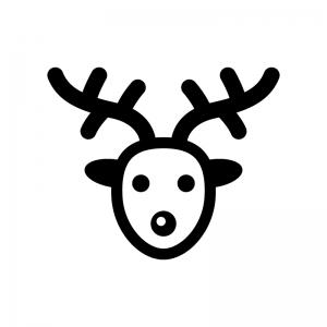クリスマス・トナカイの白黒シルエットイラスト03