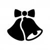 リボン付きのクリスマスベル・鈴の白黒シルエットイラスト02
