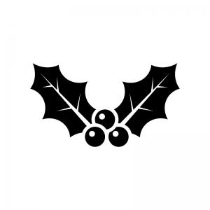 ヒイラギの白黒シルエットイラスト03