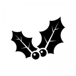 ヒイラギの白黒シルエットイラスト04