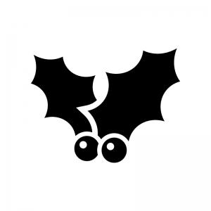 ヒイラギの白黒シルエットイラスト05
