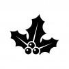 ヒイラギの白黒シルエットイラスト06