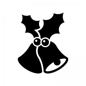 クリスマス・ヒイラギとベルの白黒シルエットイラスト02