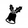 クリスマス・ヒイラギとベルの白黒シルエットイラスト03