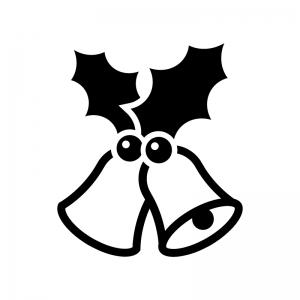 クリスマス・ヒイラギとベルの白黒シルエットイラスト05