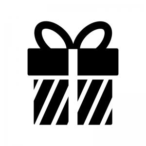 プレゼント箱の白黒シルエットイラスト