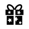 星の模様のプレゼント箱の白黒シルエットイラスト