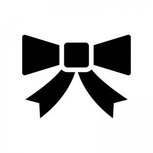リボンの白黒シルエットイラスト06