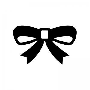 リボンの白黒シルエットイラスト07
