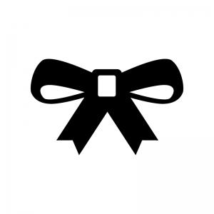 リボンの白黒シルエットイラスト08