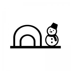 冬・かまくらと雪だるまの白黒シルエットイラスト