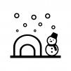 冬・かまくらと雪だるまの白黒シルエットイラスト02
