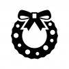 リボンのクリスマスリースの白黒シルエットイラスト