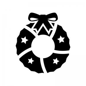 リボンのクリスマスリースの白黒シルエットイラスト03