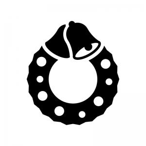 ベルのクリスマスリースの白黒シルエットイラスト