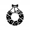 ベルのクリスマスリースの白黒シルエットイラスト02