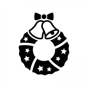 ベルのクリスマスリースの白黒シルエットイラスト03