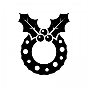 ヒイラギのクリスマスリースの白黒シルエットイラスト