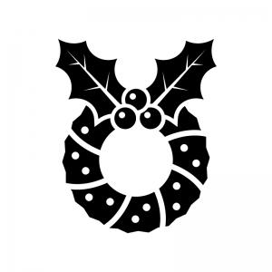 ヒイラギのクリスマスリースの白黒シルエットイラスト02