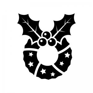 ヒイラギのクリスマスリースの白黒シルエットイラスト03