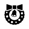 リボンとベルのクリスマスリースの白黒シルエットイラスト