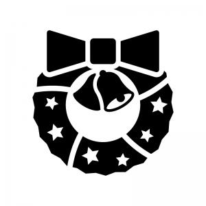 リボンとベルのクリスマスリースの白黒シルエットイラスト03