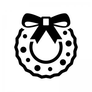 リボンのクリスマスリースの白黒シルエットイラスト04