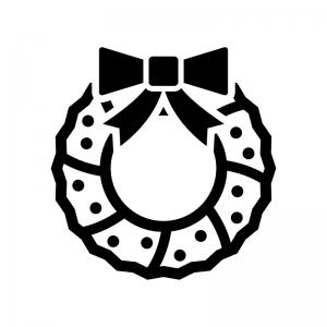 リボンのクリスマスリースの白黒シルエットイラスト05