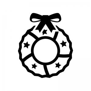 リボンのクリスマスリースの白黒シルエットイラスト06