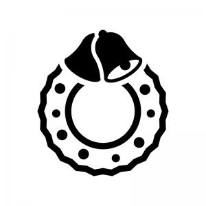 ベルのクリスマスリースの白黒シルエットイラスト04