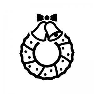 ベルのクリスマスリースの白黒シルエットイラスト05
