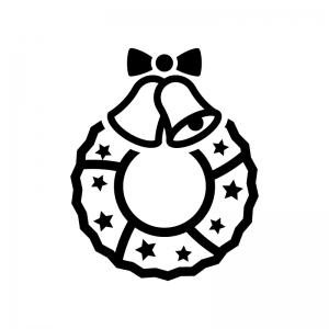 ベルのクリスマスリースの白黒シルエットイラスト06