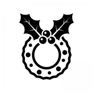 ヒイラギのクリスマスリースの白黒シルエットイラスト04