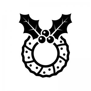 ヒイラギのクリスマスリースの白黒シルエットイラスト05