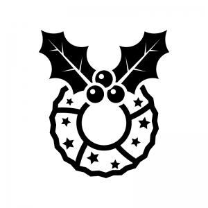 ヒイラギのクリスマスリースの白黒シルエットイラスト06