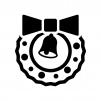 リボンとベルのクリスマスリースの白黒シルエットイラスト04