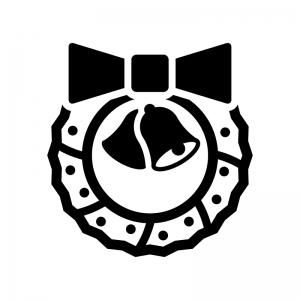 リボンとベルのクリスマスリースの白黒シルエットイラスト05