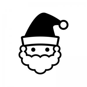 サンタクロースの白黒シルエットイラスト