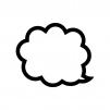 クラウド吹き出しの白黒シルエットイラスト03