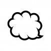 クラウド吹き出しの白黒シルエットイラスト04