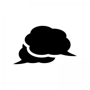 クラウド吹き出しの白黒シルエットイラスト06
